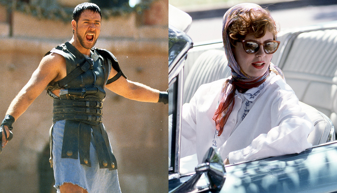 Russell Crowe holds a sword in a scene from Gladiator and Susan Sarandon sits in a blue convertible car in Thelma and Louise