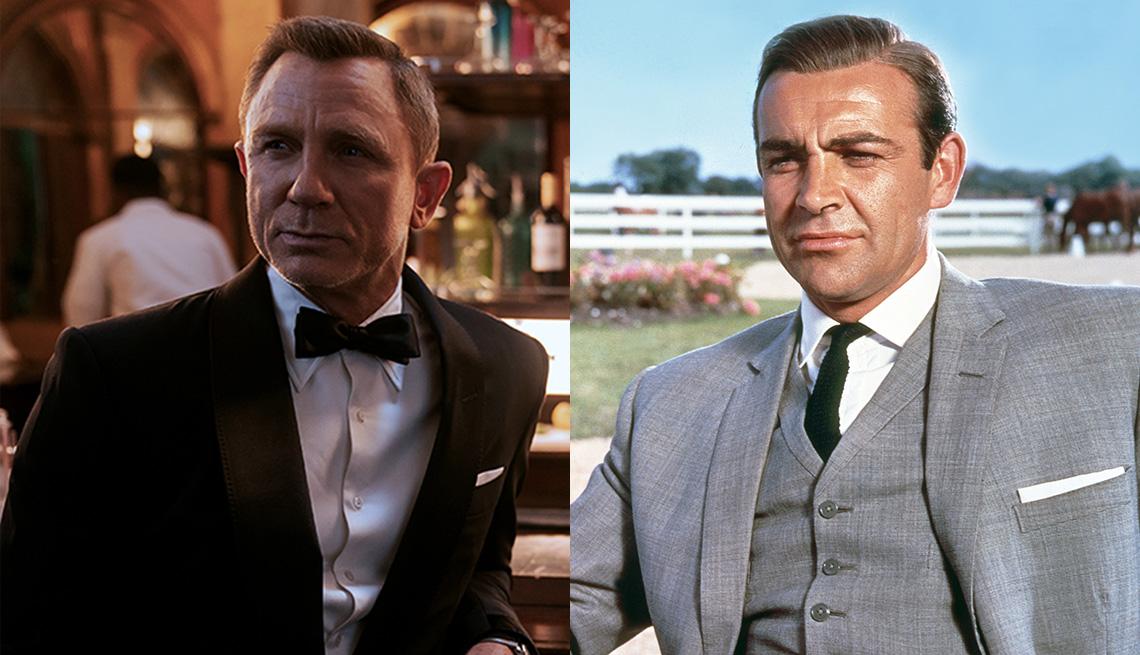"""Daniel Craig (izquierda) en """"No Time to Die"""" y Sean Connery en """"Goldfinger""""."""
