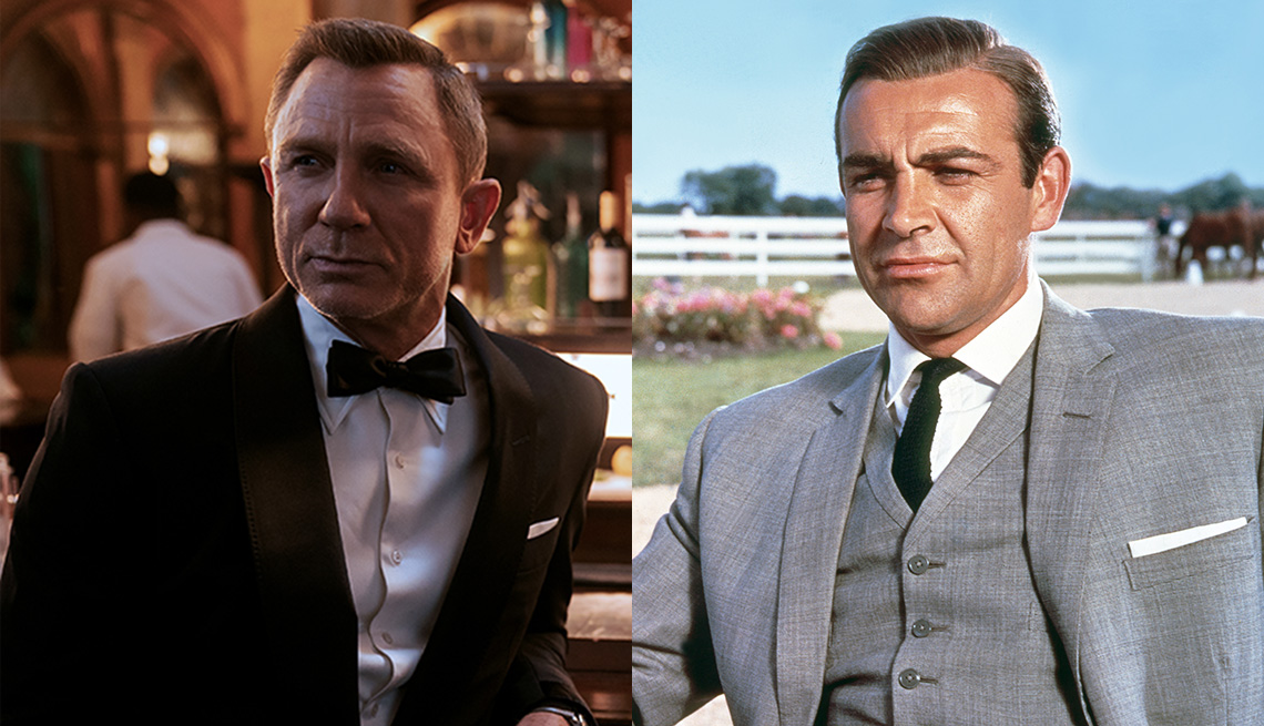 Daniel Craig stars as James Bond in No Time to Die and Sean Connery as James Bond in Goldfinger