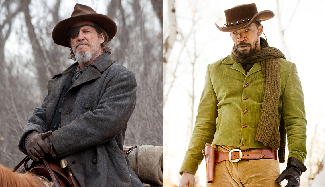 Jeff Bridges riding a horse in the film True Grit and Jamie Foxx in a scene from Django Unchained
