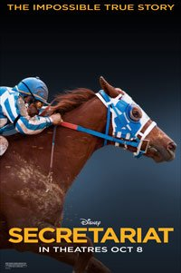 Secretariat movie poster, a horse jockey riding a horse