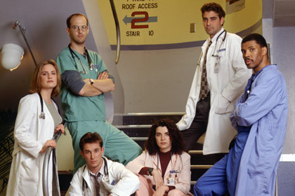 ER (season 1) fall 1994 - spring 1995 Shown: Sherry Stringfield (as Dr. Susan Lewis), Anthony Edwards (as Dr. Mark Greene), Noah Wyle (as Dr. John Carter), Julianna Margulies (as Head Nurse Carol Hathaway), George Clooney (as Dr. Douglas Ross), Eriq La Salle
