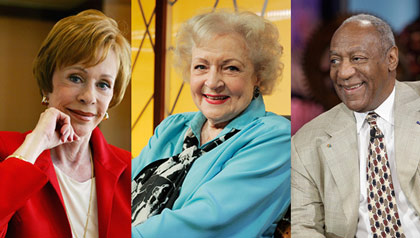 From left to right: Carol Burnett; Betty White; Bill Cosby