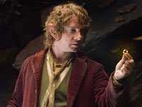 Martin Freeman como Bilbo Baggins en la película de aventuras The Hobbit: An Unexpected Journey.