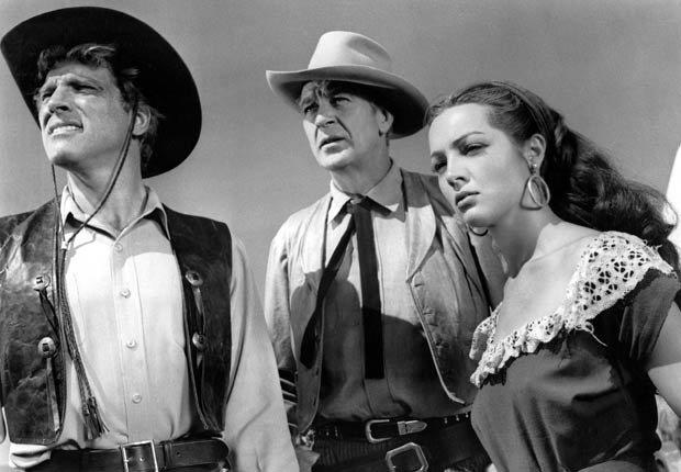 Los actores Burt Lancaster, Gary Cooper y Sarita Montiel, en la película VERA CRUZ, 1954.