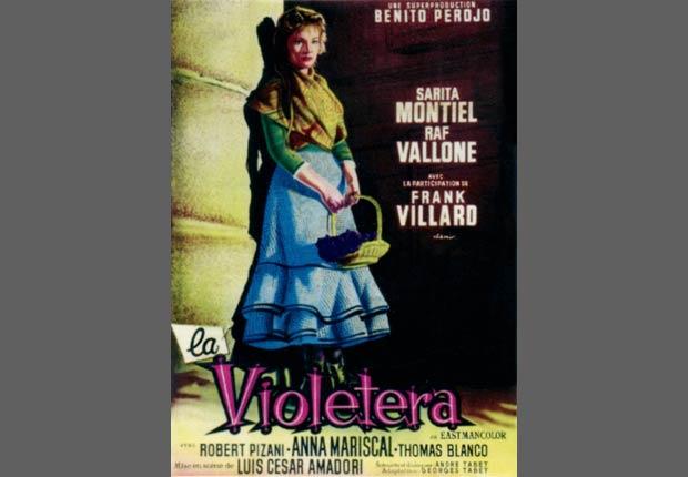 Afiche de la película La Violetera, protagonisada por Sarita Montiel, 1958.