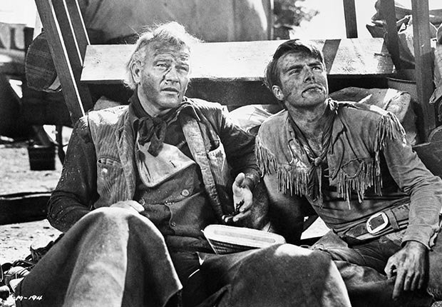 John Wayne y Montgomery Clift en una escena de 'Red River'