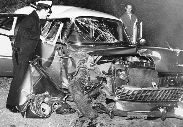 Así quedó el carro del accidente que tuvo el actor Montgomery Clift en 1956