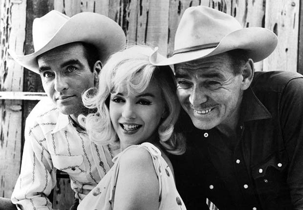 Montgomery Clift, Marilyn Monroe y Clark Gable en el rodaje de 'The Misfits'