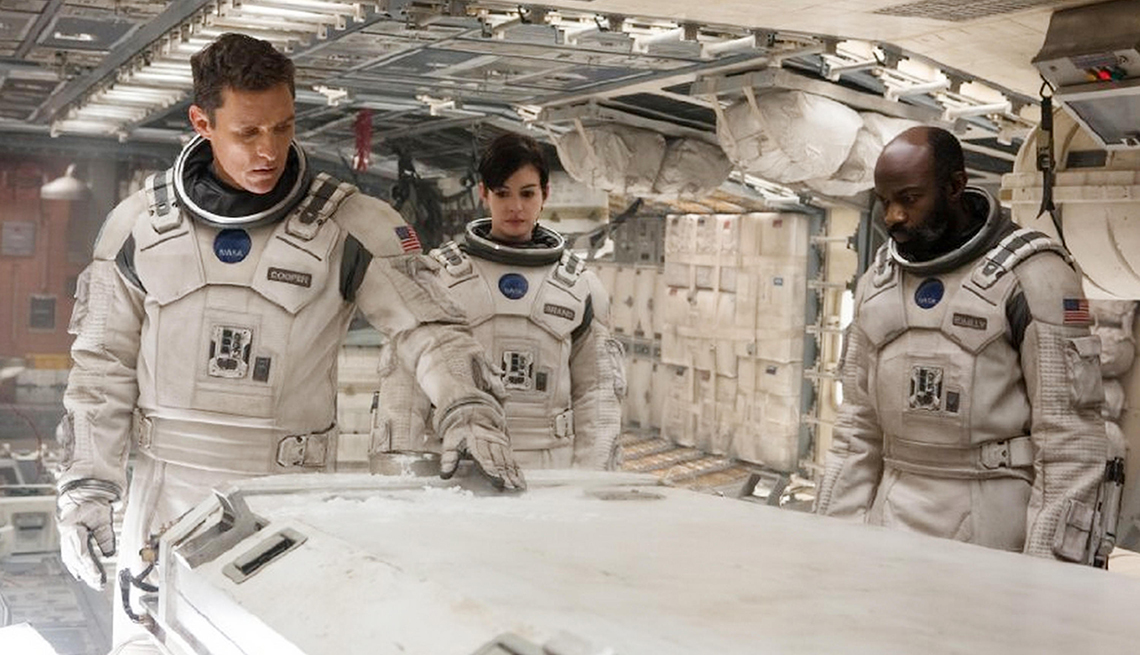 Matthew McConaughey, Anne Hathaway, David Oyelowo, en la película Interstellar