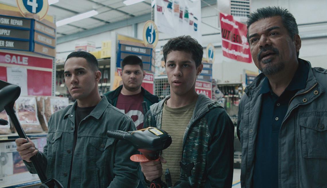 Carlos Penavega, Óscar Gutiérrez, David Del Río, George López, en una escena de Spare Parts