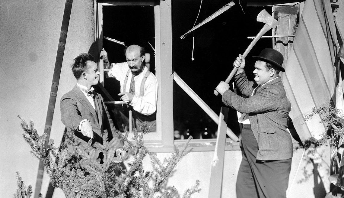 El Gordo y el Flaco, Laurel y Hardy en una escena de la película Big Business