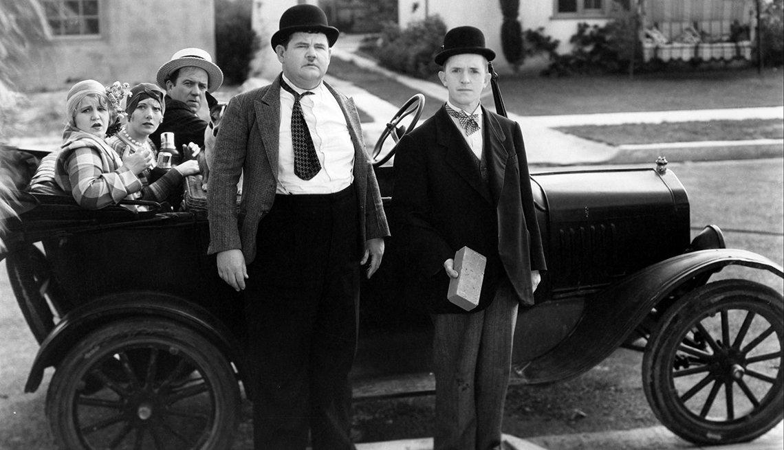 El Gordo y el Flaco, Laurel y Hardy en una escena de la película Perfect Day