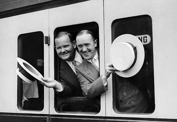 Laurel y Hardy, el Gordo y el Flaco en un tren