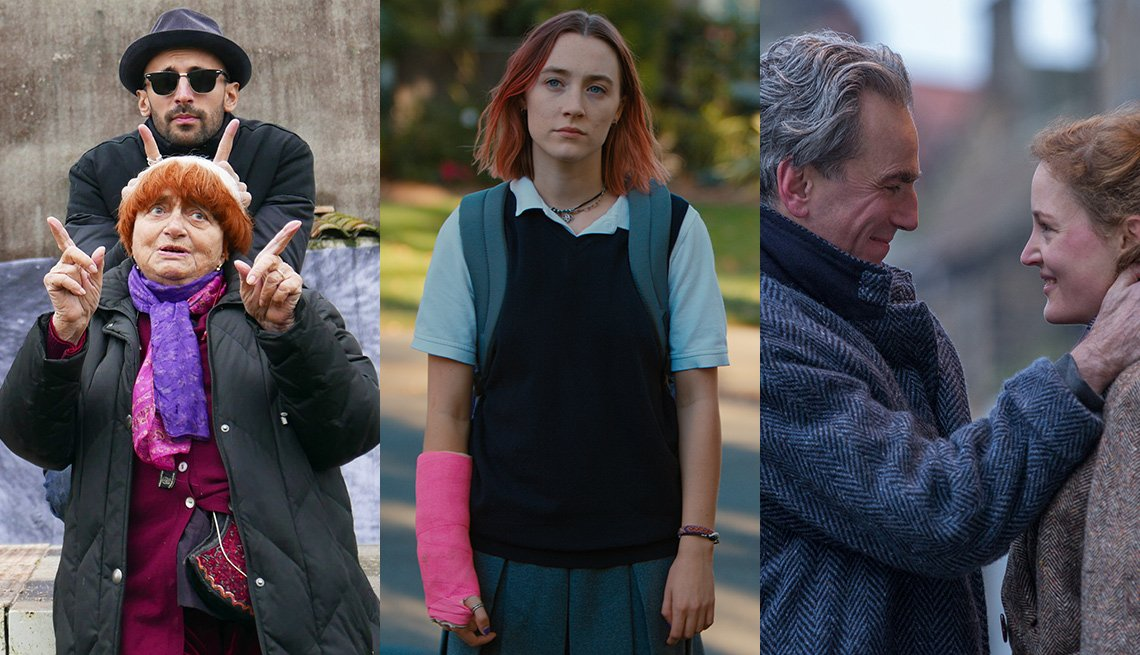 Escenas de las películas Faces Places, Lady Bird, Phantom Thread