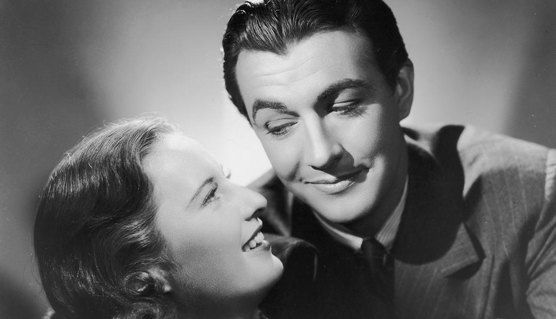 Retrato de los actores Barbara Stanwyck y Robert Taylor, y su carrera en Hollywood