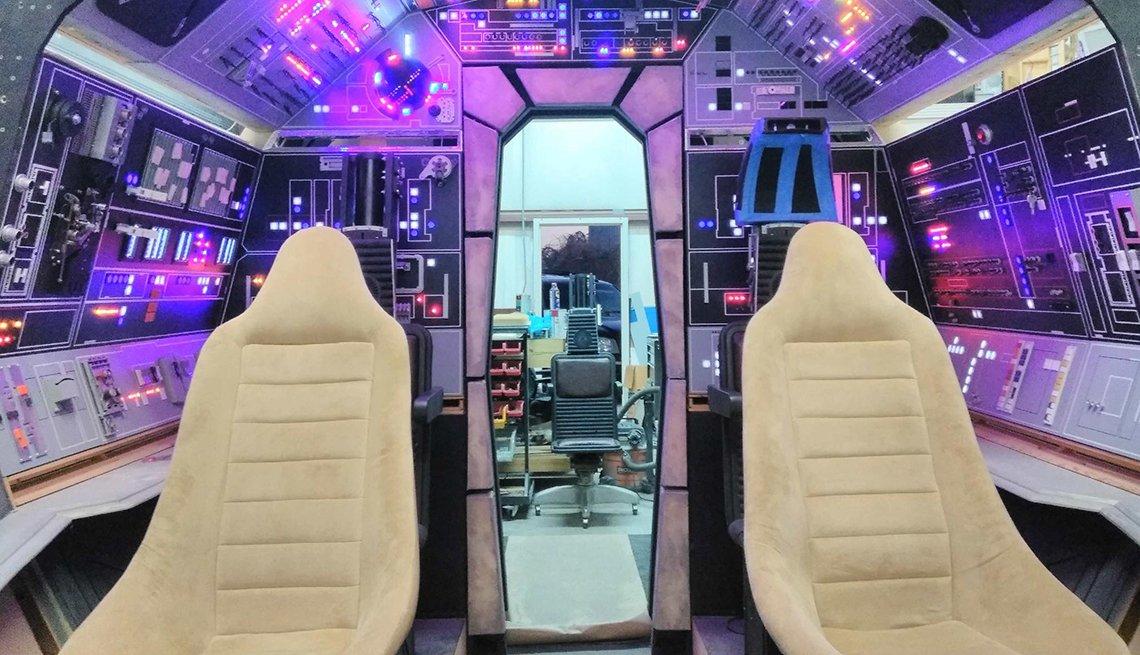 Interior of the cockpit on the Millennium Falcon replica project
