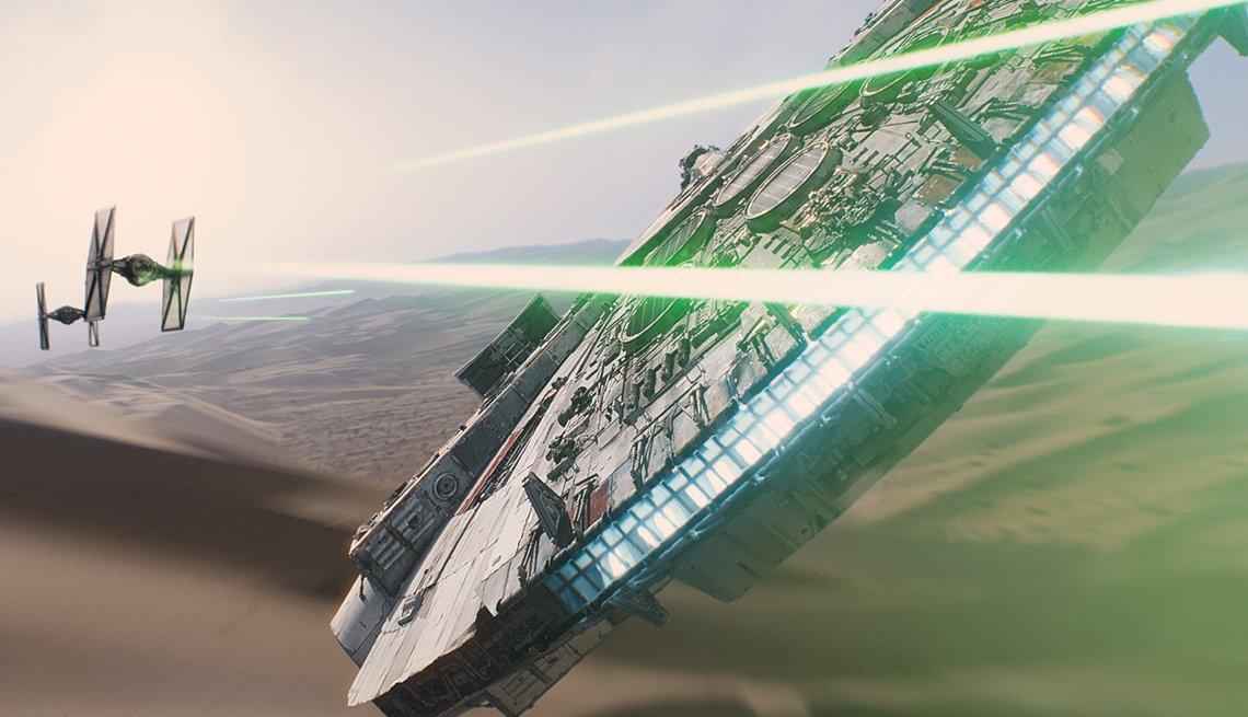 Millennium Falcon in battle scene from Star Wars: The Force Awakens