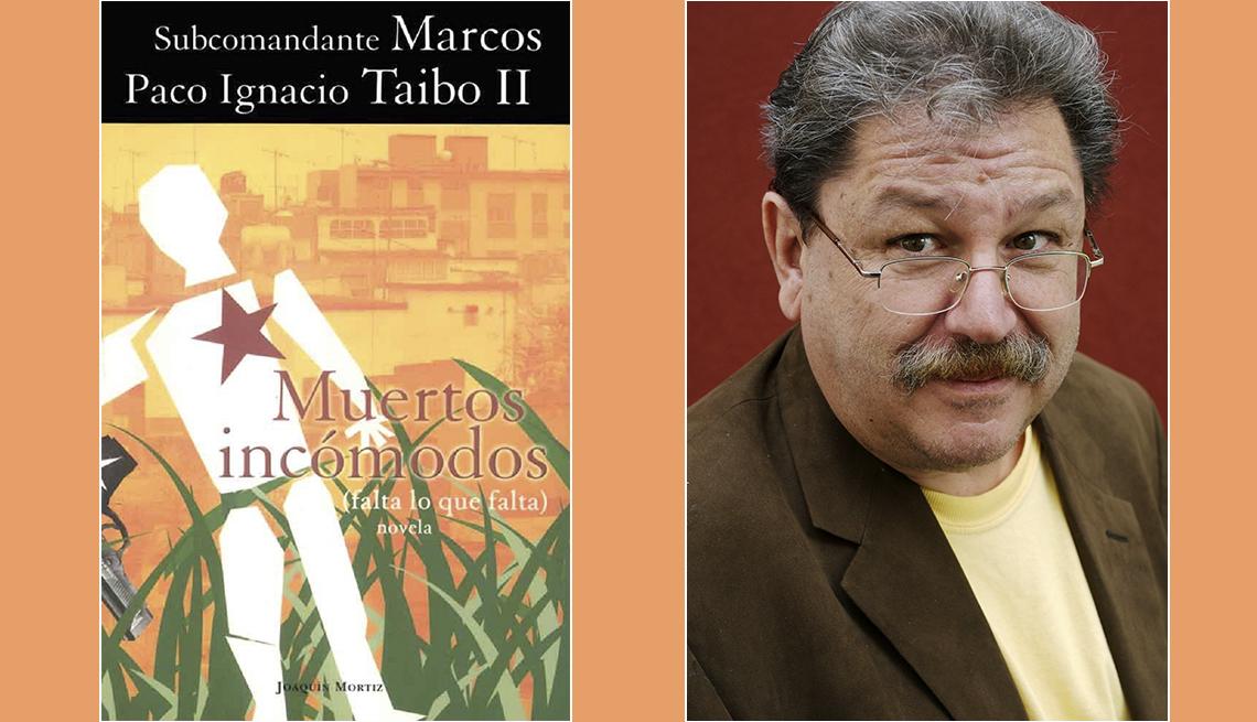 Subcomandante Marcos Paco Ingnacio Taibo II Muertos incomodos (falta lo que falta) novela. White figure with red star and black gun against reeds and favela