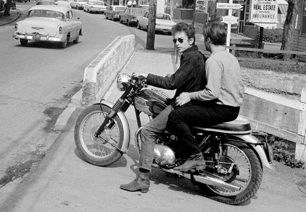 Bob Dylan rides his motorcycle circa 1964 in Woodstock