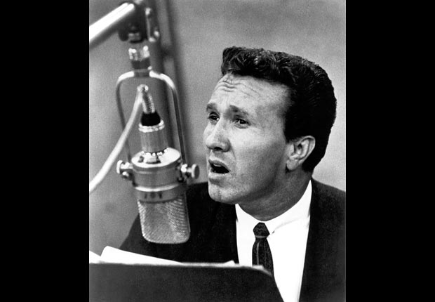 Marty Robbins croons a song on the radio