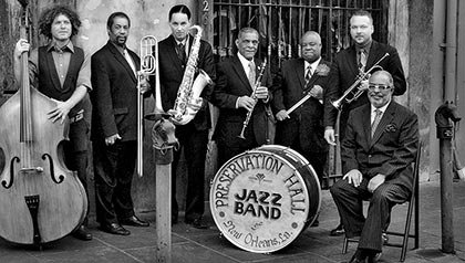 Preservation Hall Jazz Band of New Orleans - from L to R: Ben Jaffe, Freddie Lonzo, Clint Maedgen, Charlie Gabriel, Joe Lastie Jr. Mark Braud, Rickie Monie