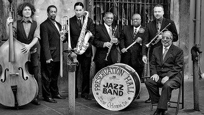 Preservation Hall Jazz Band of New Orleans - from L to R: Ben Jaffe, Freddie Lonzo, Clint Maedgen, Charlie Gabriel, Joe Lastie Jr. Mark Braud, Rickie Monie