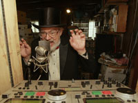 Dr. Demento records his Internet radio show at at his home studio in Lakewood, Holiday Albums AARP
