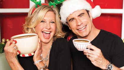 John Travolta and Olivia Newton-John, release of Christmas music album