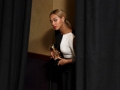 Beyonce is seen backstage with the award for best traditional R&B performance for Love on Top, Grammy Awards 2013