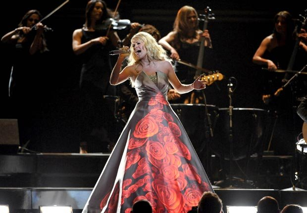 Carrie Underwood performs at the 55th annual Grammy Awards.