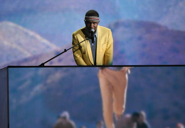 Frank Ocean performing at the 55th annual Grammy Awards
