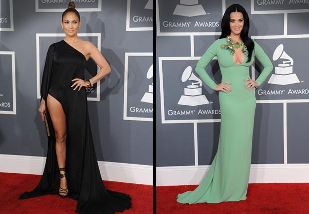 Jennifer Lopez and Katie Perry arrives, Grammy Awards 2013