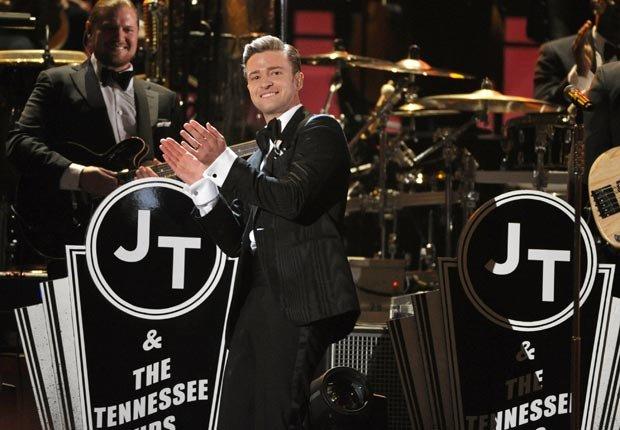 Justin Timberlake performs on stage, Grammy Awards 2013