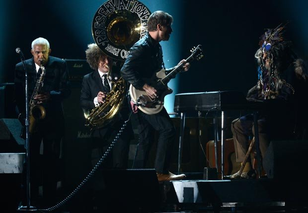 The Black Keys performs with the Preservation Hall Jazz Band onstage, Grammy Awards 2013