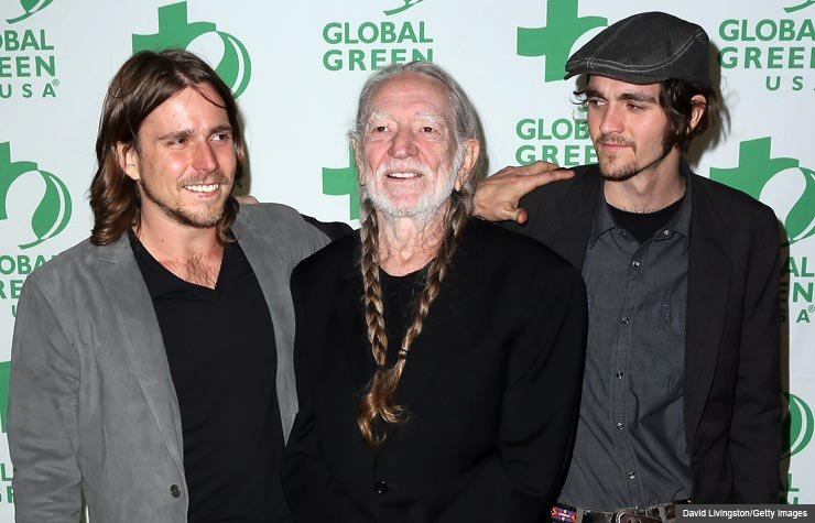 Willie Nelson with sons Lukas and Jacob, Feb. 2013