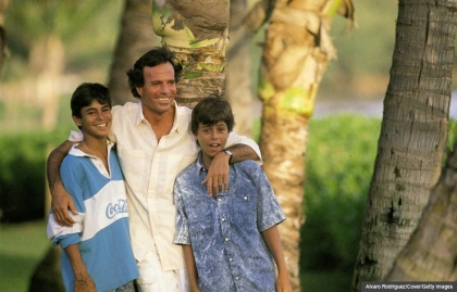 Julio Iglesias with sons Enrique and Julio Jose in Hawaii