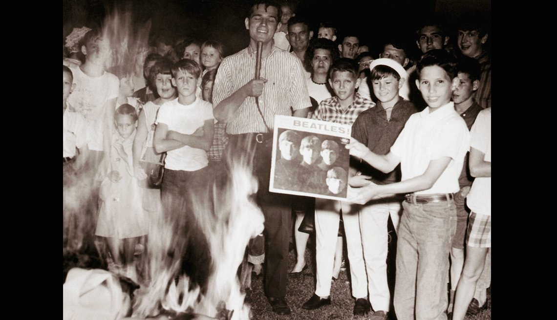 Kids, Crowd, FirePit, Burning, Beatles Album, Book Burning, The Beatles Slideshow