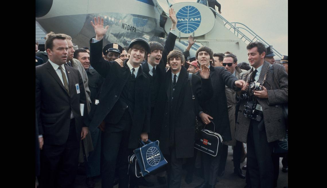 The Beatles Arrive In America, Airport, Airplane,Crowds, John Lennon, Ringo Starr, Paul McCartney, George Harrison, Musicians, The Beatles Slideshow