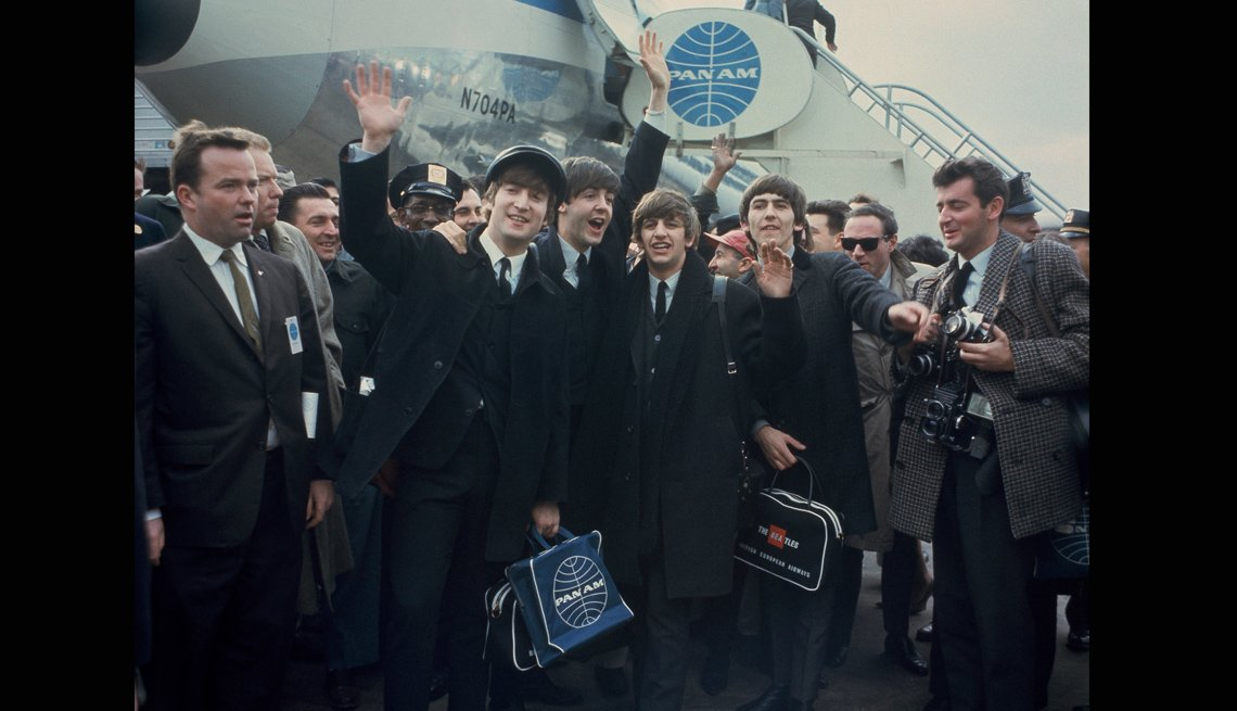 The Beatles Arrive In America, Airport, Airplane,Crowds, John Lennon, Ringo Starr, Paul McCartney, George Harrison, Musicians, The Beatles Slideshow