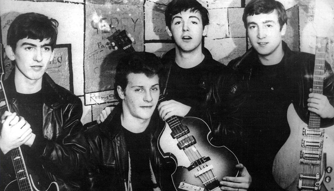 The First Foursome, George Harrison, Pete Best, Paul McCartney, John Lennon, Guitars, Portrait, The Beatles Slideshow