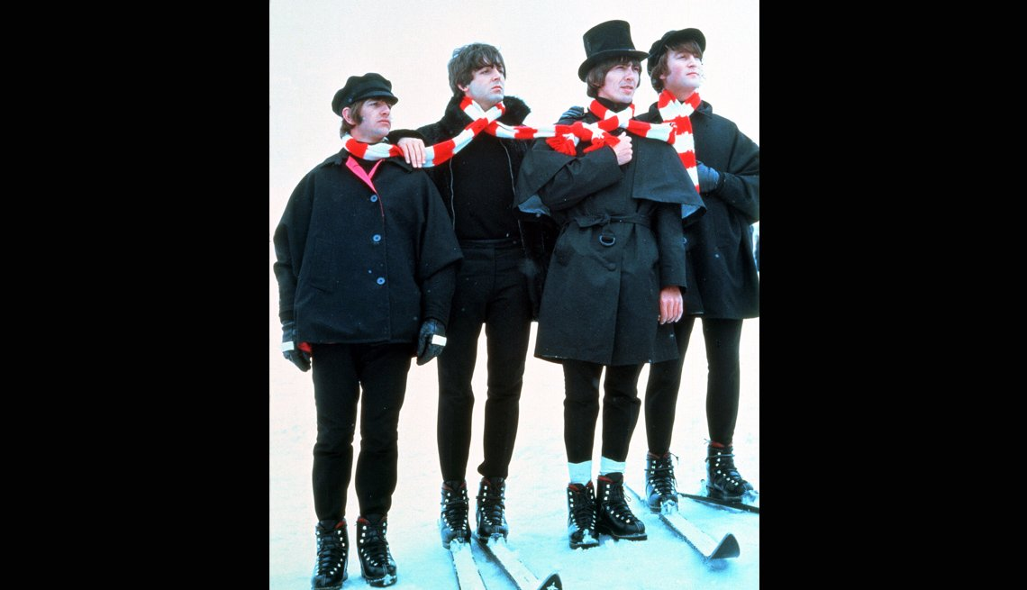 Help! Beatles Movie, Film, Ringo Starr, Paul McCartney, George Harrison, John Lennon, Skiis, Snow, Musicians, The Beatles Slideshow