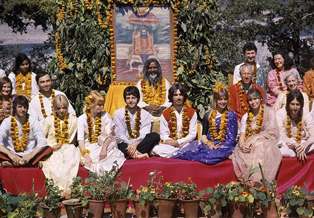 The Beatles, their wives and their entourage, with the  Maharishi Mahesh Yogi at his ashram, Rishikesh, India, January 1968