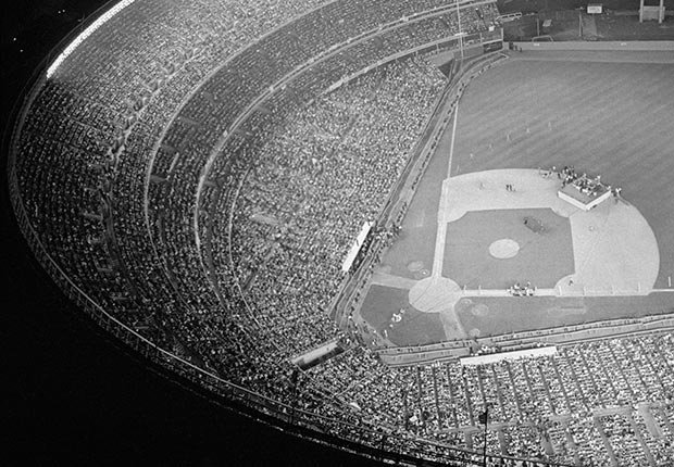 Shea Stadium is jam-packed with Beatles fans during a performance given by the British singing group at Shea Stadium.