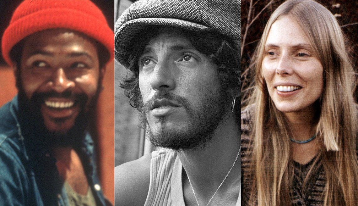 Marvin Gaye, Bruce Springsteen, Joni Mitchell, Singers, Musicians, Portraits, Boomer Generation Soundtrack