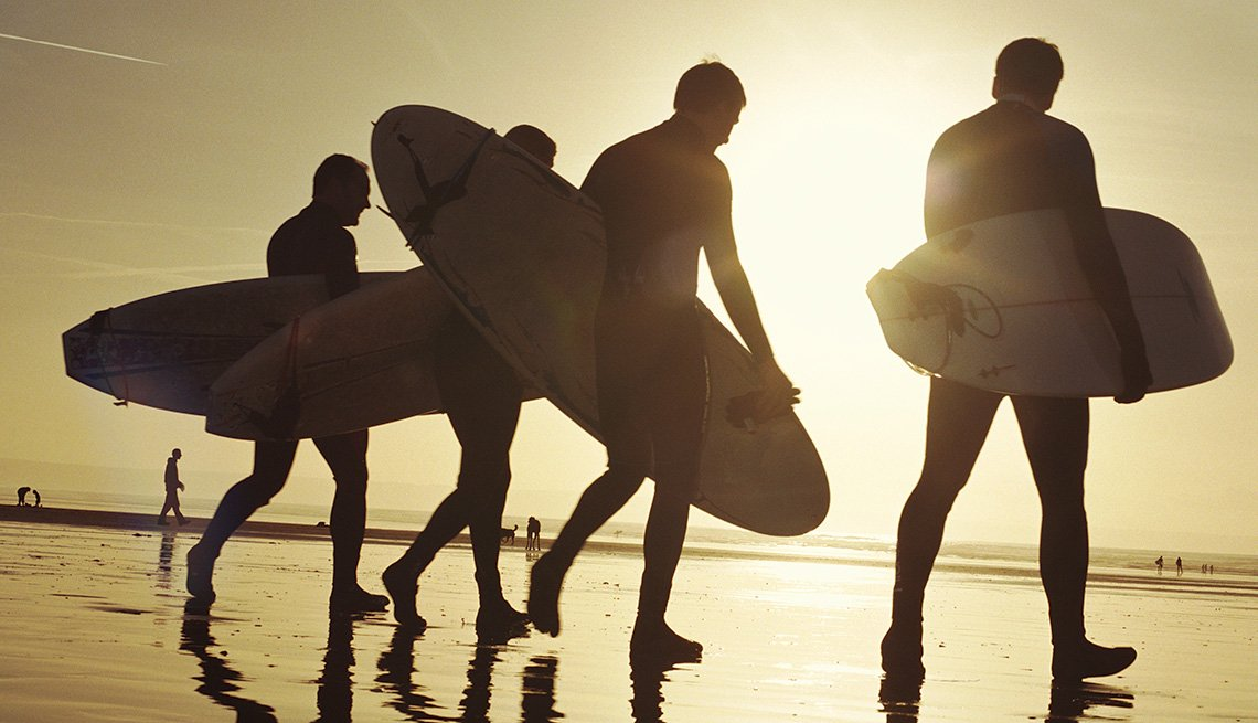 Silhouette, Surfers, Surfboards, Beach, Water, Sand, Sunset, Boomers Guide To Surfer Music