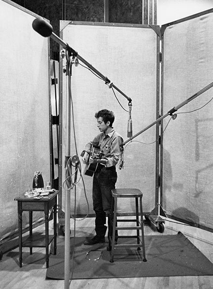 Bob Dylan in the recording studio, 1963.
