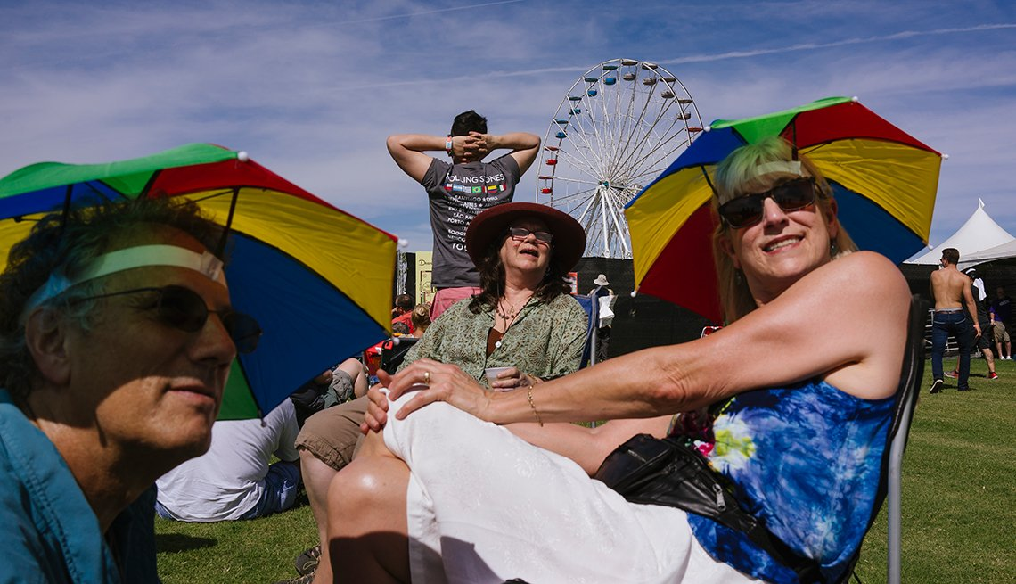 outside the gates of Desert Trip, in Indio, California, where fans are lining up to get in to the three-day music festival