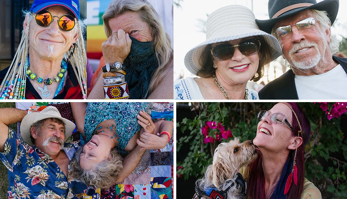 portraits of music fans at desert trip music festival