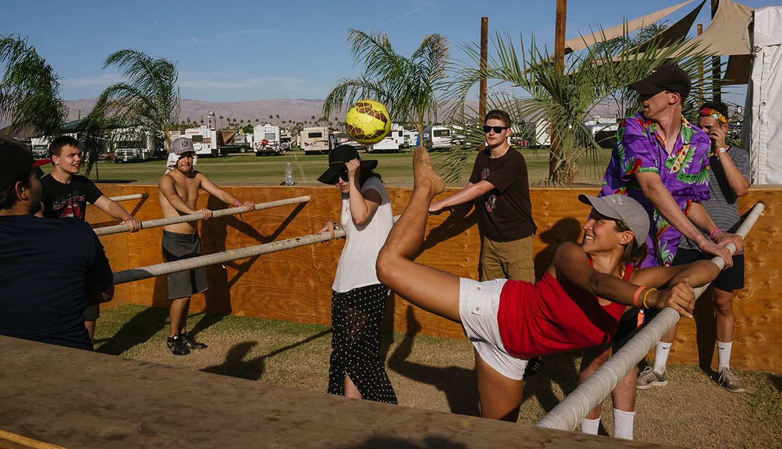 human foosball game at desert trip music festival